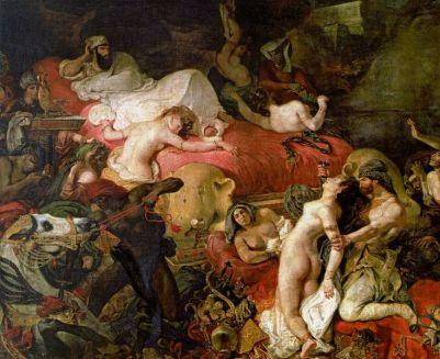 """""""La Mort de Sardanapale"""", d'Eugène Delacroix, 1827, huile sur toile, Louvre."""